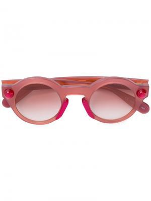 Солнцезащитные очки в круглой оправе Christopher Kane Eyewear. Цвет: розовый и фиолетовый