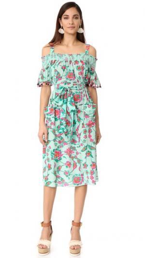 Платье Amber с мозаичным цветочным узором Tanya Taylor. Цвет: мятный мульти