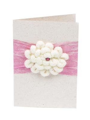 Открытка Вязаный пион, 8*12 см. DEEPOT. Цвет: розовый, белый