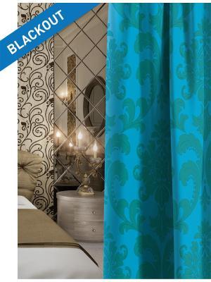 Штора (1шт.) Волшебная ночь 150см*270см, ткань-Блэкаут,  стиль-ВЕРСАЛЬ, VENSEN. Цвет: зеленый, синий