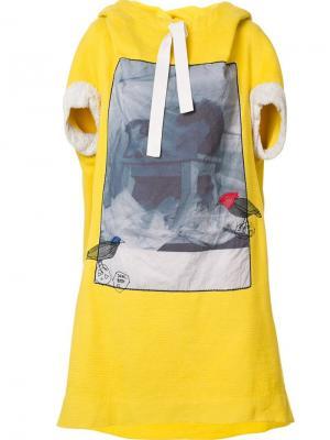 Платье свободного кроя с принтом Bernhard Willhelm. Цвет: жёлтый и оранжевый