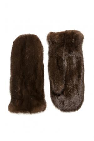 Варежки из меха норки 181291 Mkc. Цвет: коричневый