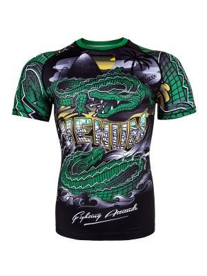 Рашгард Crocodile Black/Green S/S Venum. Цвет: черный, зеленый