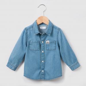 Рубашка из денима, 1 мес. - 3 года R essentiel. Цвет: синий потертый выбеленный