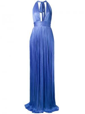 Платье с глубоким V-образным принтом Maria Lucia Hohan. Цвет: синий
