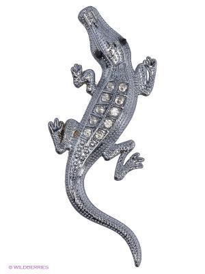 Наклейка 3D Крокодил серебряный малый N116 WIIIX. Цвет: серебристый