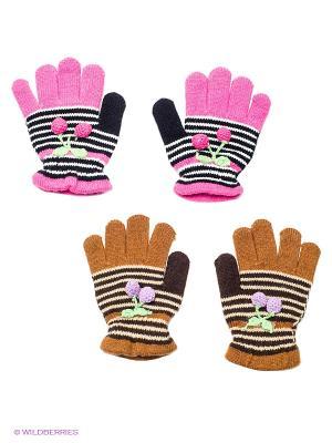 Перчатки, 2 пары FOMAS. Цвет: коричневый, бежевый, розовый