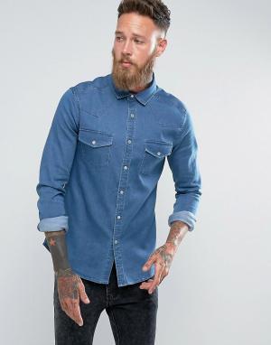 ASOS Узкая джинсовая рубашка в стиле вестерн. Цвет: синий