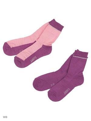 Носки 2 пары с махровой стопой Janus. Цвет: розовый