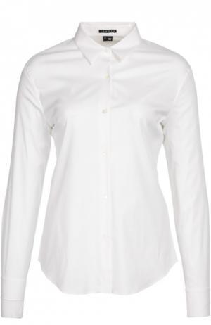 Приталенная хлопковая блуза Theory. Цвет: белый