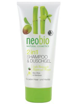 Шампунь-гель 2 в 1 c био-оливой и бамбуком Neobio. Цвет: светло-желтый
