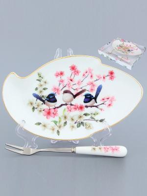 Тарелочка под лимон Райские птички Elan Gallery. Цвет: розовый, белый, синий