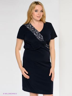 Платье Gemko plus size. Цвет: темно-синий