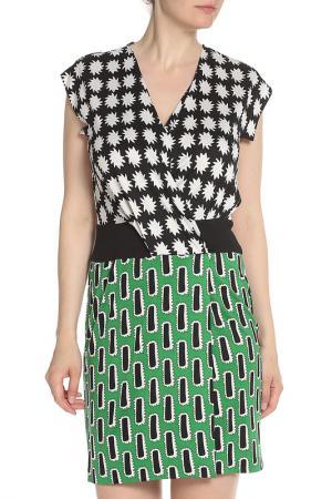 Платье с V образным вырезом DVF. Цвет: зеленый, принт