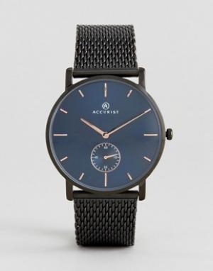 Accurist Черные часы с сетчатым браслетом и синим циферблатом. Цвет: черный