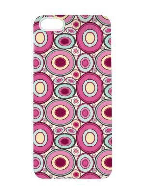 Чехол для iPhone 5/5s Бордово-голубые круги Арт. IP5-023 Chocopony. Цвет: малиновый, желтый, зеленый, розовый