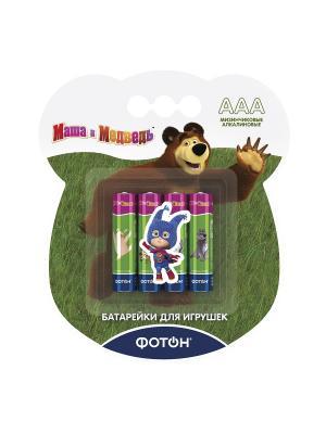 Батарейки ААА Маша и медведь + наклейка, цена указана за 1 шт, продаются упаковкой Фотон. Цвет: зеленый