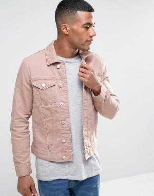 River Island Розовая выбеленная джинсовая куртка. Цвет: розовый