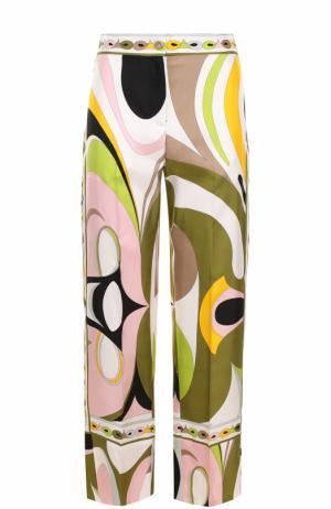 Шелковые брюки прямого кроя с принтом Emilio Pucci. Цвет: разноцветный
