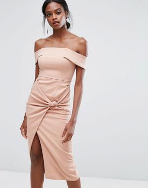 Lavish Alice Платье миди с широким вырезом и узлом. Цвет: розовый