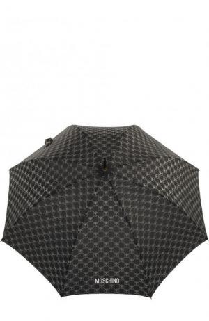 Зонт-трость с логотипом бренда Moschino. Цвет: черный