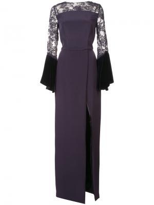 Приталенное кружевное длинное платье Monique Lhuillier. Цвет: розовый и фиолетовый