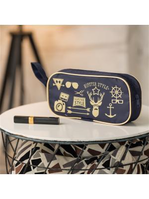 Косметичка Hipster Style Premium Homsu. Цвет: темно-синий, бежевый