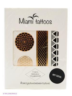 Флэш-Татуировки My Soul, 3шт Miami Tattoos. Цвет: золотистый