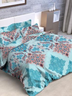 Комплект постельного белья, евро, бязь, пододеяльник на молнии Letto. Цвет: голубой, розовый
