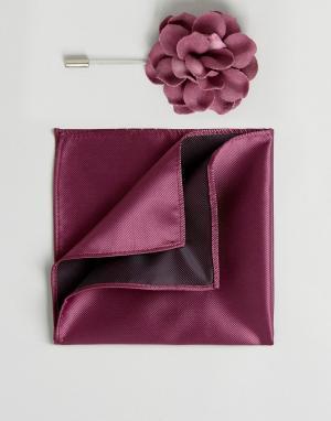 Devils Advocate Платок для пиджака и булавка галстука с цветочной отделкой. Цвет: красный