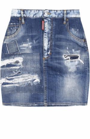 Джинсовая мини-юбка с потертостями Dsquared2. Цвет: синий
