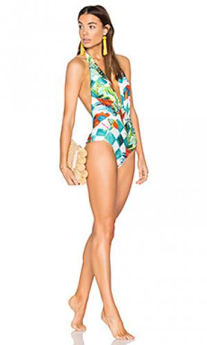 Цельный купальник с глубоким v-вырезом Lenny Niemeyer. Цвет: зеленый