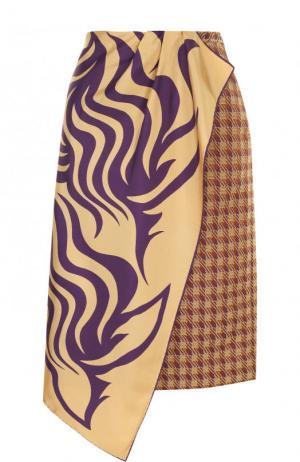 Юбка-миди асимметричного кроя с принтом Dries Van Noten. Цвет: бежевый