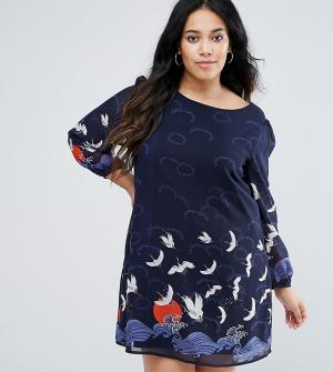 Yumi Plus Платье с длинными рукавами и принтом. Цвет: темно-синий