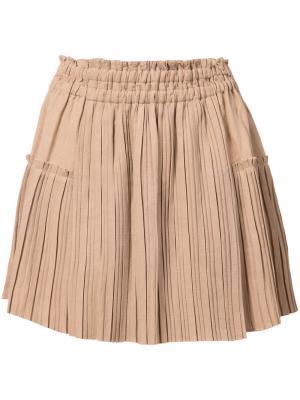 Плиссированная мини-юбка Apiece Apart. Цвет: телесный