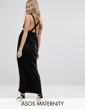 ASOS Maternity Пляжное трикотажное платье макси с перекрестными бретельками Mate. Цвет: черный