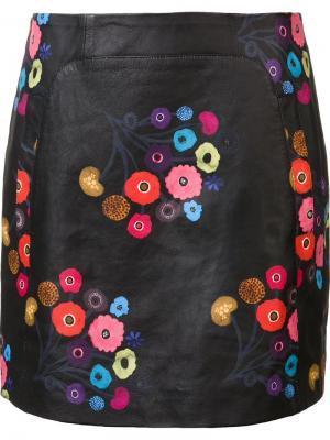 Юбка с цветочным принтом Tanya Taylor. Цвет: чёрный