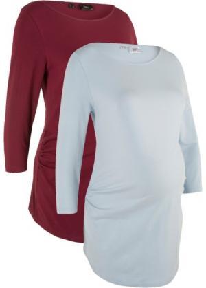 Мода для беременных: футболка из биохлопка (2 шт.) (красный/голубой) bonprix. Цвет: красный/голубой