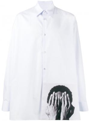 Рубашка с фото-принтом Raf Simons. Цвет: синий