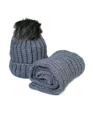Комплект шапка и снуд Mitya Veselkov. Цвет: лазурный
