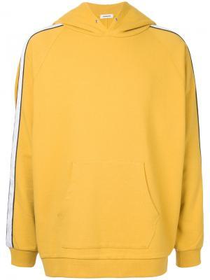 Свитер свободного кроя с капюшоном monkey time. Цвет: жёлтый и оранжевый