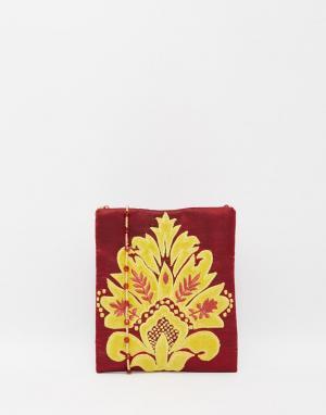 Moyna Шелковая сумочка через плечо с золотистой аппликацией