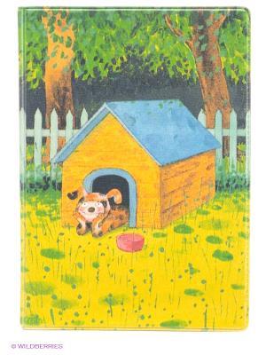 Обложка для паспорта Мечтающий пес в будке Mitya Veselkov. Цвет: зеленый, желтый