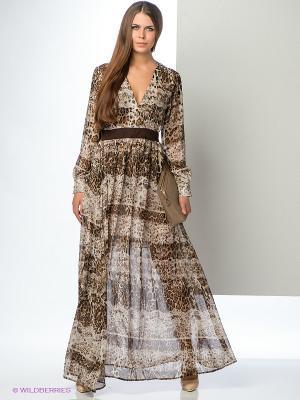 Платье ELENA FEDEL. Цвет: коричневый, белый