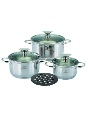 Набор посуды Bohmann BH-0104. Кастрюли 2,1л./3,9л./6,3л.. Цвет: серебристый