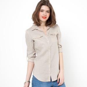 Рубашка с длинными рукавами, 100% лен La Redoute Collections. Цвет: серо-бежевый