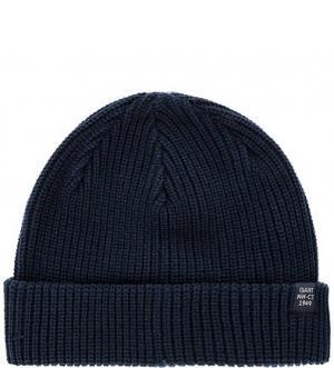 Синяя вязаная шапка Gant. Цвет: синий