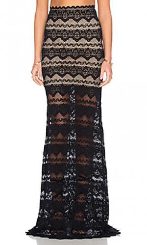 Кружевная юбка макси sierra Nightcap. Цвет: черный