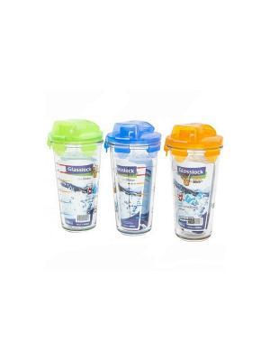 Шейкеры Glasslock GL-1123 3шт*0.45л. Цвет: прозрачный, оранжевый, салатовый, голубой
