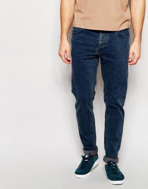 Dr Denim Синие мраморные джинсы слим Clark. Цвет: синий